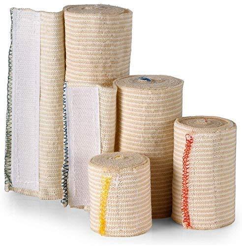Envolturas de vendas elásticas - Paquete de variedad 4, 2 3 4 6 pulgadas x 5 yardas por rollo - Rollo de compresión y estiramiento reutilizable sin látex para primeros auxilios.