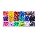 PandaHall 3000pcs Abalorios fusibles de 16 colores con base de broche correas móviles para manualidades de DIY abalorios