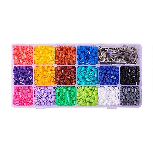 PandaHall - Lot de 3000pcs / Boite Environ 16 Couleur PE Melty Perle a Repasser Perles Fusibles Bricolage Recharges, Tube, Couleurs Melangees, 5x5mm, Trou: 3mm + Accessoires Necessaires