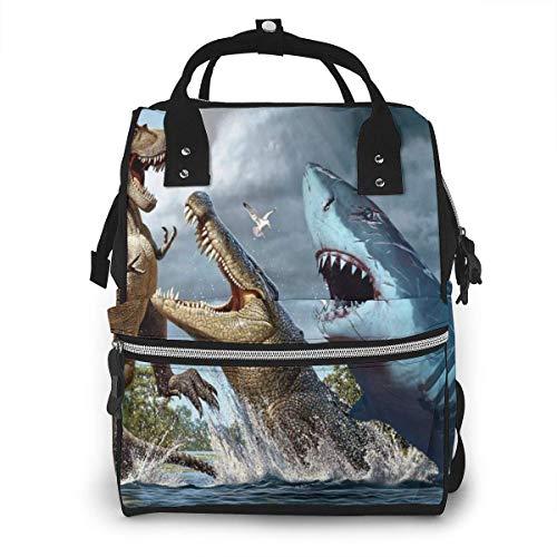 Dino haai krokodil strijd grote capaciteit multifunctionele mama rugzak grote capaciteit landscap licht baby luier zakken
