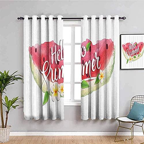 ZLYYH cortinas dormitorio infantil Blanco fruta sandía letras WxH:229x274cm(114x274cm x2 paneles) Las cortinas opacas, el aislamiento térmico / calor en invierno, pueden proteger los muebles de interi