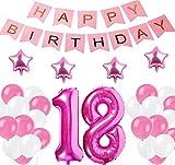 """Decoraciones de 18 Cumpleaños,""""Happy Birthday"""" Bandera Banner, Set globo rosa18 año, Clásico Número 18 Globo para cumpleaños, decoración de bodas, decoración de fiesta (Rosado18)"""