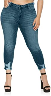 Qootent Women Denim Pants Stretch Slim Plus Size Jeans Casual Pencil Trousers