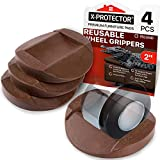Furniture Cups - Bed Stoppers 4 PCS - X-PROTECTOR Premium Rubber Caster Cups Furniture Coasters – Best Furniture Caster Cups - Floor Protectors for All Floors & Wheels (Brown)