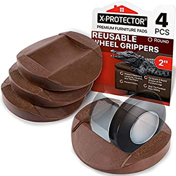 Furniture Cups - Bed Stoppers 4 PCS - X-PROTECTOR Premium Rubber Caster Cups Furniture Coasters – Best Furniture Caster Cups - Floor Protectors for All Floors & Wheels  Brown