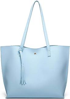 کیف شانه پارچه ای چرمی نرم مصنوعی زنانه از Dreubea ، کیف دستی منگوله ای با ظرفیت بزرگ