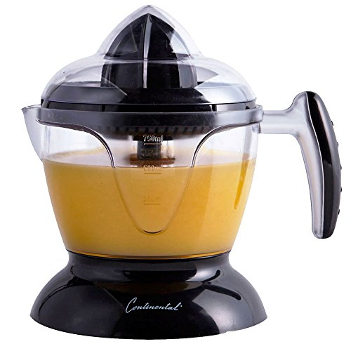Continental Electric CE22669 Electric Citrus Juicer, 24 Ounce (750 ml) Capacity, Dust Cover, Clear Juice Window, Clean Cord Warp, Black, 8.6 x 7.9 x 6.1 inches