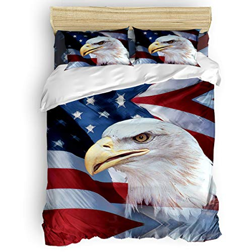 IDOWMAT Queen Size Bed Comforter Set - American USA Flag Eagle Patriot – Ultra Soft Microfiber Fabric Bedding with Zipper Closure - 4 Pieces Bedspread Comforter Cover and Pillow Shams