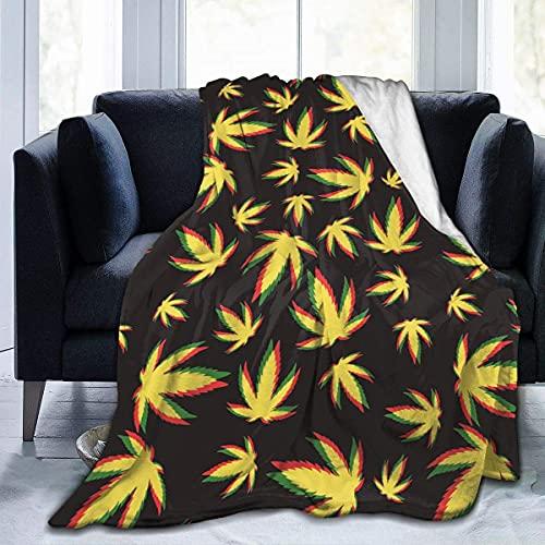 Manta Amarilla de Marihuana Manta Lavable a máquina Mantas de Felpa Micro no tóxicas 130X150cm Mantas de sofá para sofá Lectura Cama Siesta