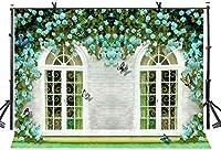 HiYash 8x6ft 花の花の背景ウィンドウ屋外の花の背景誕生日パーティー赤ちゃんの誕生日の装飾バナー家の装飾結婚式の子供たちの赤ちゃんの写真スタジオの背景ビニール素材