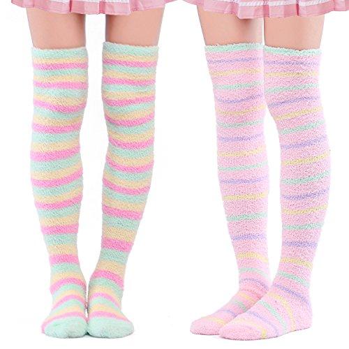LittleForBig Süßes Tier Koralle Samt Oberschenkel/Knie-Lange Gestreifte Socken Kniestrümpfe 2 Paare - Einheitsgröße - Grün &Rosa