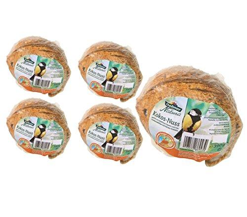 Dehner Natura Wildvogelfutter, Kokosnuss, 5 Stück (1.95 kg)