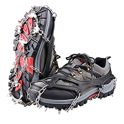 TRIWONDER Traction Cleats Ice Snow Grips 18 Spikes Anti-Slip Stainless Steel Crampons for Walking Jogging Climbing Hiking Mountaineering (Black, L (W 8.5-11.5 / M 7-10))