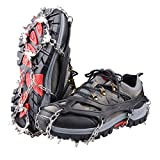 Triwonder Ice Snow Grips Over Shoe/Boot Traction Cleat Rubber Spikes Slip-on Stretch Footwear