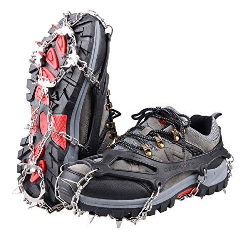 TRIWONDER Ramponcini da Ghiaccio, Ramponcini Antiscivolo per Scarpe, Ramponi in Acciaio, Ramponcini Alpinismo Pesca Escursioni Arrampicata per Uomo Donna (Nero, M M (36-40 EUR))