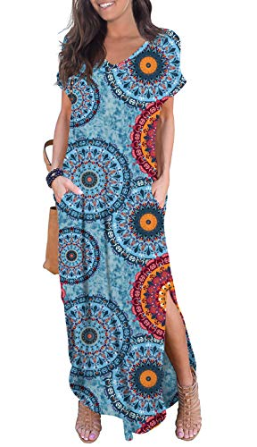 GRECERELLE Women's Casual Loose Long Dress Short Sleeve Floral Print Maxi Dresses with Pockets Mix Blue Large