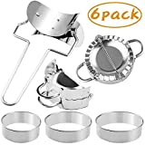 6 Pcs Stainless Steel Dumplings Maker, 2 Dumpling Molds, Dumpling Skin Roller and 3 Dumpling Skin Cutter Pie Ravioli Empanadas Press Mold Kitchen Accessories for Ravioli and Pierogi