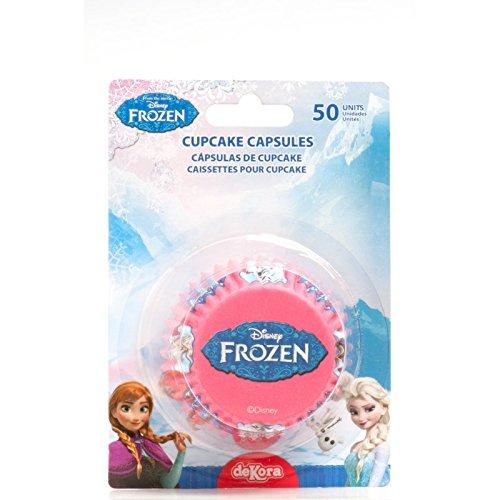50 Pirottini Frozen - Disney - in Carta Forno - per Cupcake, Muffin, Dolci - Confezione da 50 Pezzi - pirottino Decorazione Decorativi - Ideale per Feste di Compleanno, Party - con Anna, Elsa e Olaf