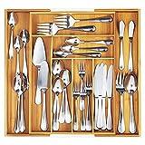 Organizador de cajones de cocina, cajones con sistema de organización, cajón de madera, antideslizante, para todos los cuchillos y cuchillos de cocina, 30 x 36 x 5,5 cm