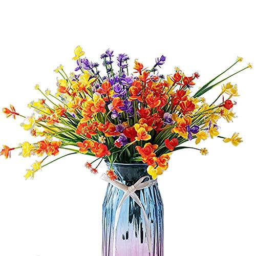 Faux Flower Arrangements, Indoor Artificial Flowers Plastic Flowers Faux Greenery Shrubs Plants, UV Resistant Fake Plants Outdoor Bridal Wedding Bouquet for Home Garden Party Wedding Decoration