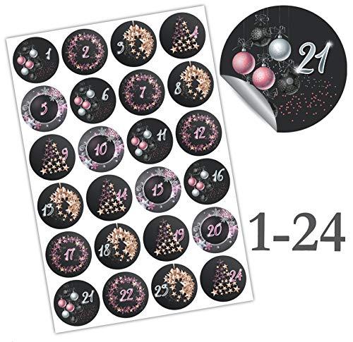 endlosschenken Adventskalender Zahlen Aufkleber - Sticker 1-24 Adventszahlen Nummern zum Basteln (rosa/schwarz)