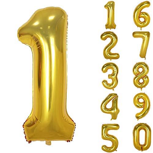 onehous Gold Luftballon Zahlen 1, 100cm 40inch Riesige Golden Folienballon Zahl Geburtstagsdeko