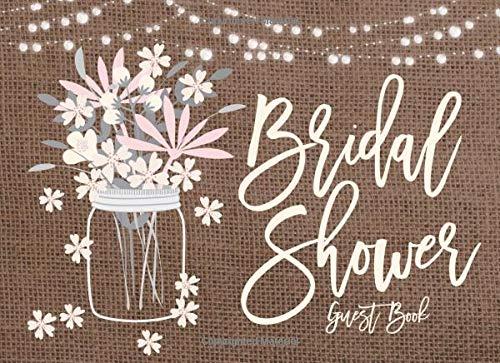 Bridal Shower Guest Book: Rustic Mason Jar And String Lights Bridal Shower Guest Book And Gift Log