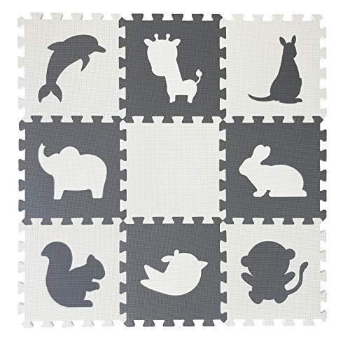 Happykiddoos Puzzlespielmatte Foam Matte. Spielmatte Schaumstoff Verriegelung Puzzle Kinderteppich. Jede Matte hat eine Größe von 30x30cm und ist 1 cm dick (Tiere, Grau/weiß)