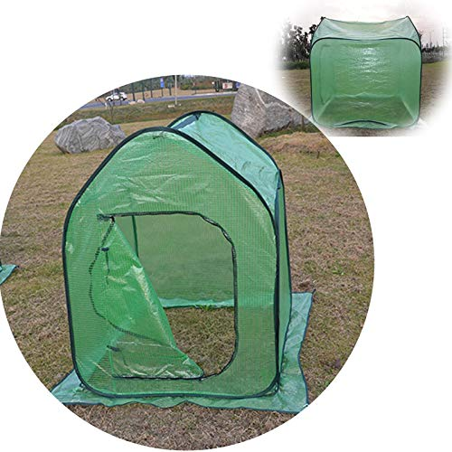 Green House Small Greenhouse Winter Cold Protection Plastic Greenhouse Tomato Keep Warm Sun Protection Foldable Outdoor Garden Hood (Color : Green, Size : 110x110x42cm)