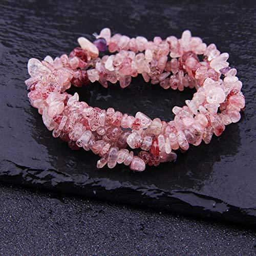 ABCABC Natural Lapis Opal Quartz Fluorite Amethys Freeform Chip Piedle Beads Collar de Bricolaje Pulsera Joyería Fabricación de 15' (Color : Strawberry Quartz)