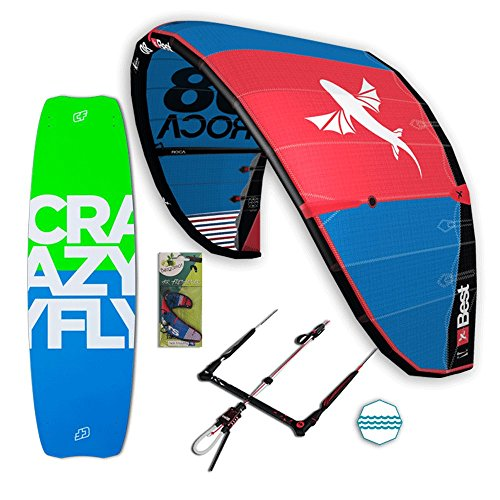 Best Roca Freeride Set – Kite completo paquete – Incluye Wavegorilla Kite Shop ® Air Freshener (10 m Roca – 138 cm Allround – 52 cm RP Bar)