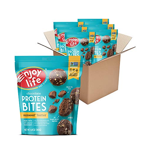 Enjoy Life SunSeed Butter Chocolate Protein Bites, Dairy Free Snacks, Soy free, Nut free, Gluten free, Non GMO, Vegan, Allergy Friendly Snacks, 6 Packs