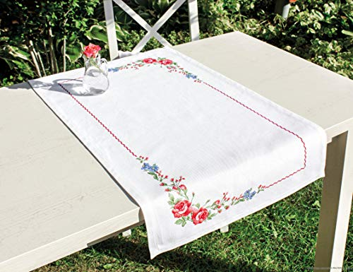 Luca-S FM011 - Camino de mesa (algodón, 75 x 46 cm), diseño de rosas silvestres