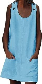 Daqinghjxg O-Neck Sleeveless Pocket Tank Tops Summer Loose Casual A-line Slim Mini Dresses
