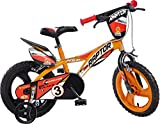 Raptor Jungen Kinderfahrrad Orange Jungenfahrrad – 14 Zoll | TÜV geprüft | Original | Kinderrad mit Stützrädern - Das Fahrrad als Geschenk für Jungen