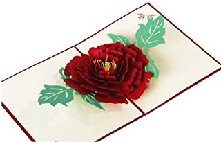 BC Worldwide Ltd Biglietto pop-up 3D fatto a mano, biglietto d'auguri con fiore di peonia rossa, anniversario di matrimoni...