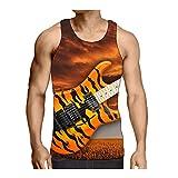 Hiser Camisetas de Tirantes para Hombre 3D Impresión de Música, Casual Camiseta de Gym sin Mangas Verano Tank Top para Hombre Movimiento Muscle S-3XL (Guitarra eléctrica,3XL)