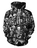 Siennaa Herren Kapuzenpullover Unisex Horror 3D Druck Hoodie Jungen Skull Gedruckt Pullover Männer Clown Pulli Damen Halloween Sweatshirt Mädchen Kapuzenpulli Oberteile Langarmshirts...
