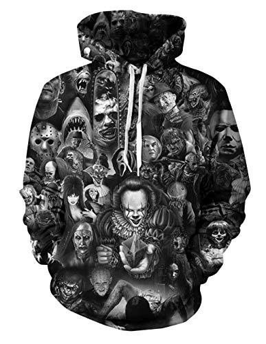 Siennaa Herren Kapuzenpullover Unisex Horror 3D Druck Hoodie Jungen Skull Gedruckt Pullover Männer Clown Pulli Damen Halloween Sweatshirt Mädchen Kapuzenpulli Oberteile Langarmshirts (Farbe 2, L)