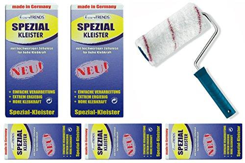 Kleister-Set: 5 Packungen Spezial Kleister 200g + Kleisterroller 18cm zum Tapezieren schwerer Tapeten wie Rauhfaser und Vinyltapeten
