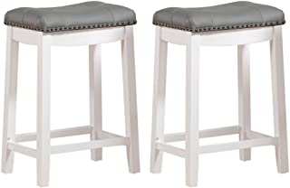 "Angel Line Cambridge bar stools, 24"" Set of 2, White with Gray Cushion"