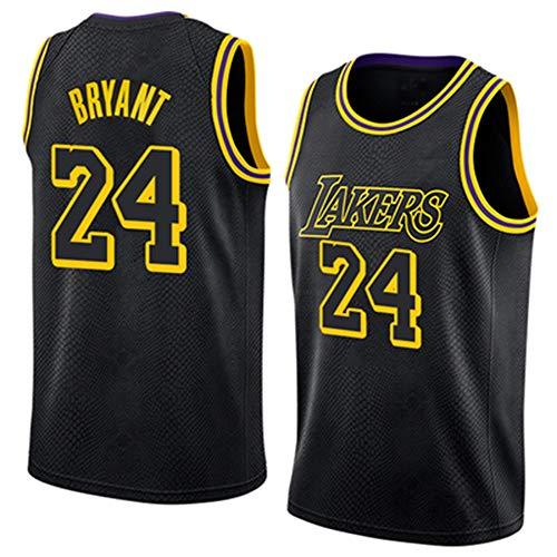 Herren Basketball Trikot NBA Lakers 24# Kobe Bryant Jersey Stickerei Tops Basketball Anzug Atmungsaktiv Weste ärmellose Sportbekleidung,XXL