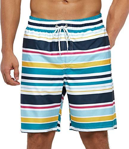SILKWORLD Mens Swim Trunks Quick Dry Beach Swimwear with Mesh Lining