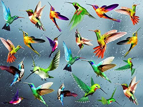 KAIRNE 24 Stück Fensteraufkleber, Kolibri, Vögel Aufkleber für Fenster, Wandtattoo, bunte Vögel, verhindert Vogelaufprall, selbstklebend, Tiere für Schlafzimmer, Wohnzimmer, Dekoration