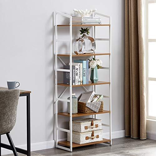 Furnitela Bookcase, Modern Bookshelf with Metal Frames, Industrial Bookshelf, Bookcases and Book Shelves 5 Shelf