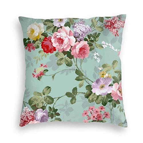 Fundas de almohada Vintage Elegante Rosa Rosas Rojas Terciopelo Suave Decorativo Cuadrado Fundas de