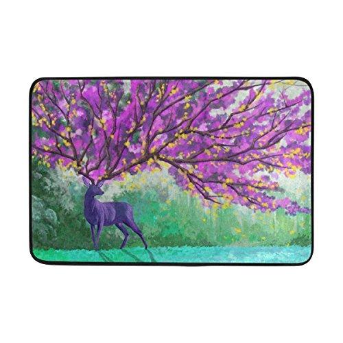 Large beach pants Grand Tapis de Plage Aquarelle Motif cerf Empereur avec Arbres Violets intérieur/extérieur 59,9 x 39,9 cm, Tapis de Sol pour la Maison/Le Bureau/la Chambre