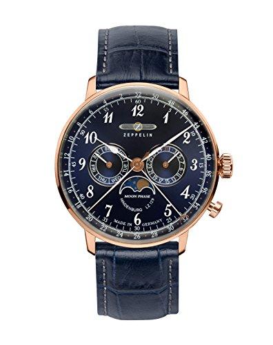 Zeppelin Unisex Chronograph Quarz Uhr mit Leder Armband 7038-3