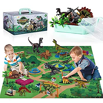 TEMI Dinosaur Toy Figure w/ Activity Play Mat & Trees Educational Realistic Dinosaur Playset to Create a Dino World Including T-Rex Triceratops Velociraptor Perfect Gifts for Kids Boys & Girls