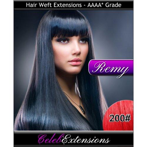 45,7 cm 200 # Fire Rouge Indiens 100% humains Remy Hair Extensions capillaires Cheveux. Tissage Silky droit 6 m Poids : 100 g AAAA de grande qualité. Qualité. Par celebextensions